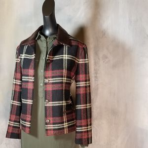 VTG BREECHES WOOL AND LEATHER JACKET PLAID…